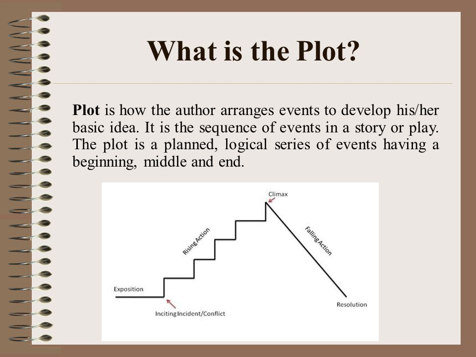 What is the Plot.Plot is how the author arranges events to develop his/her basic idea.