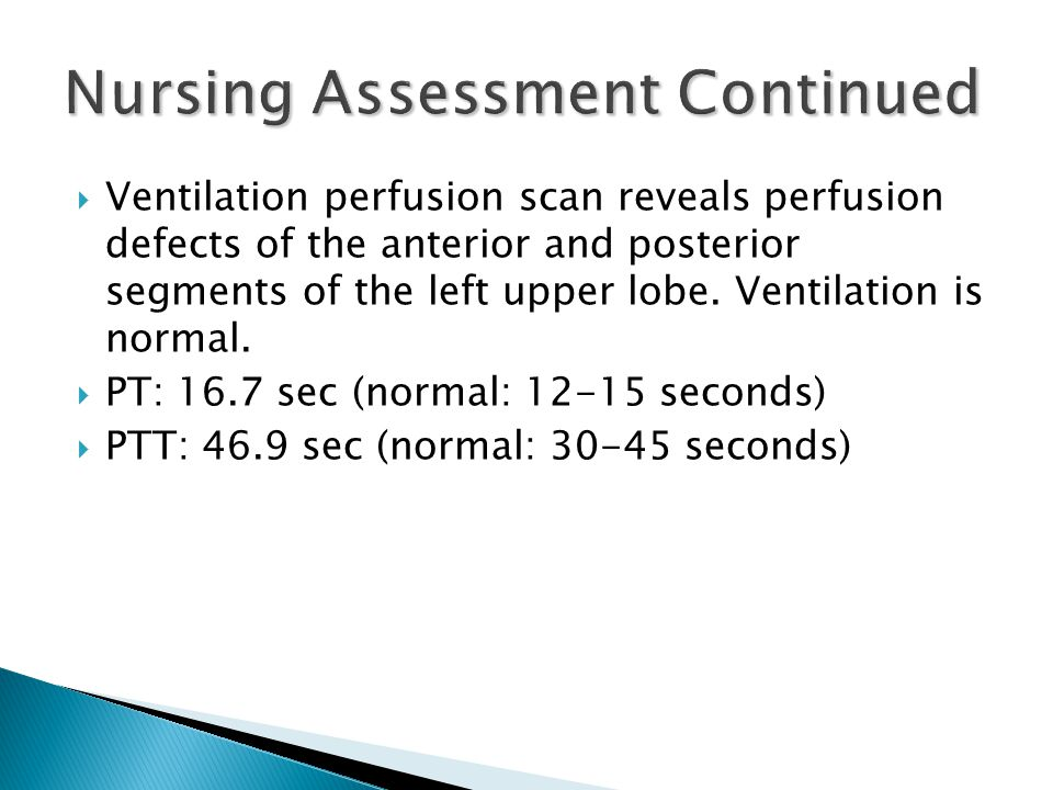  Ventilation perfusion scan reveals perfusion defects of the anterior and posterior segments of the left upper lobe.