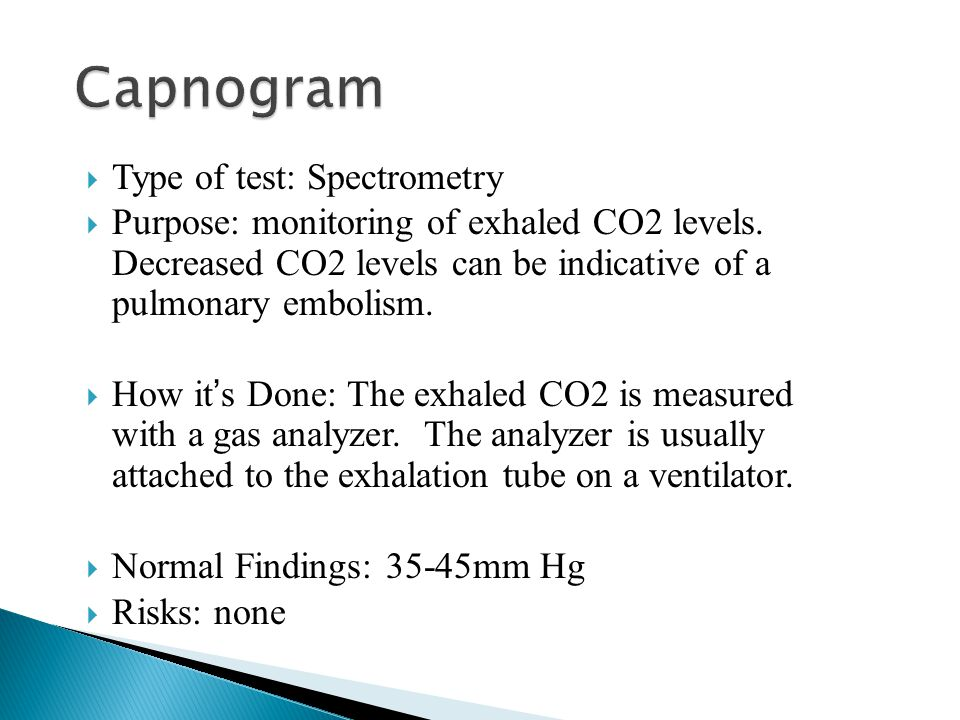  Type of test: Spectrometry  Purpose: monitoring of exhaled CO2 levels. Decreased CO2 levels can be indicative of a pulmonary embolism.  How it ' s