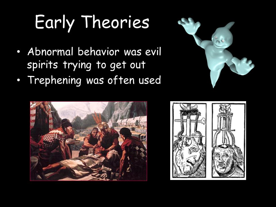 Early Theories Abnormal behavior was evil spirits trying to get out Trephening was often used