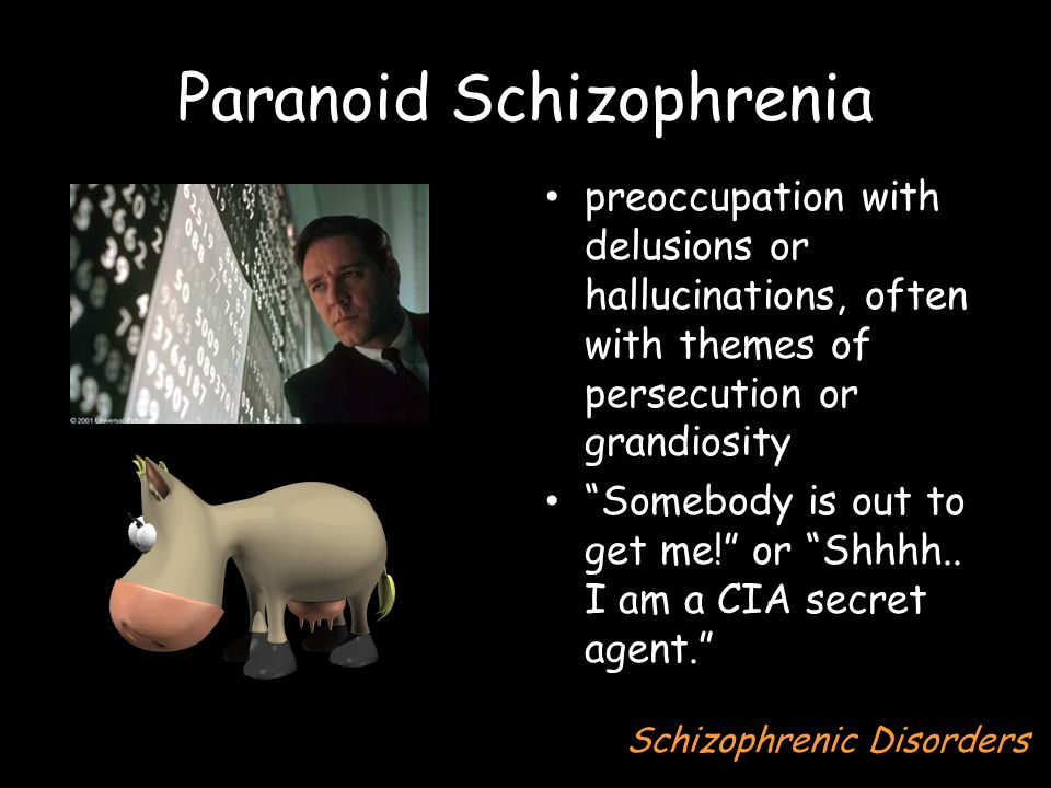 Paranoid Schizophrenia preoccupation with delusions or hallucinations, often with themes of persecution or grandiosity Somebody is out to get me! or Shhhh..