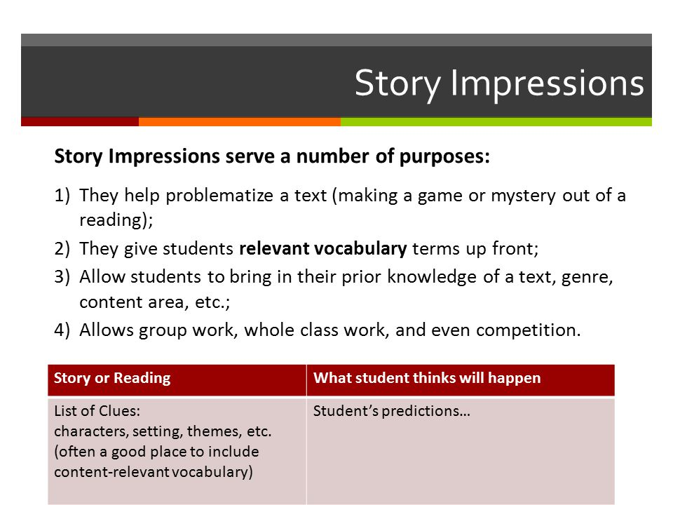 Story Impressions Story or ReadingWhat student thinks will happen List of Clues: characters, setting, themes, etc.