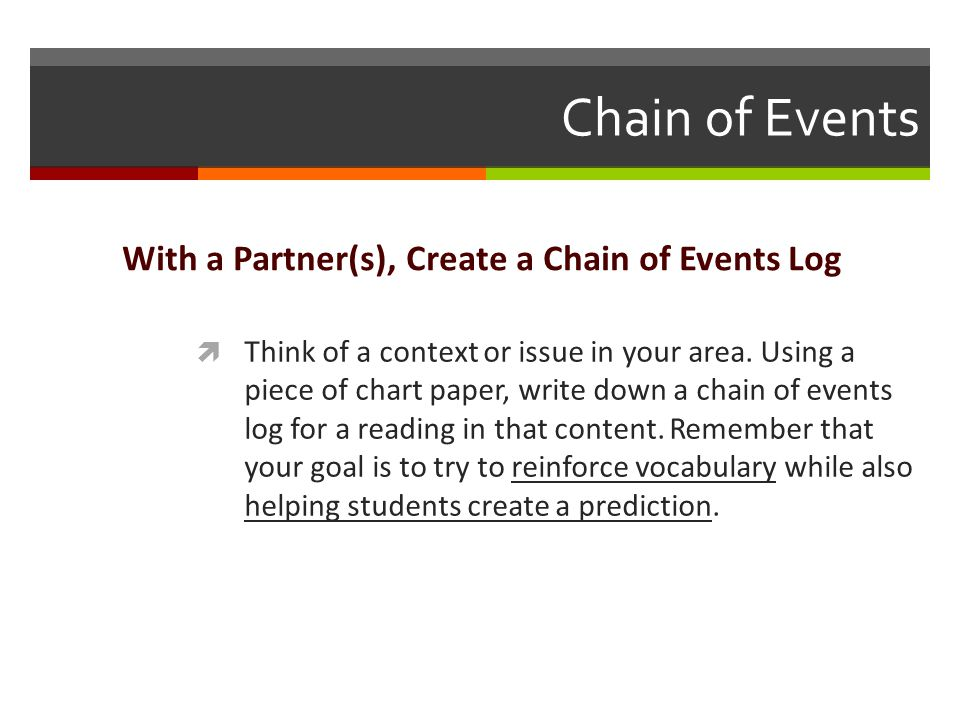 Chain of Events With a Partner(s), Create a Chain of Events Log  Think of a context or issue in your area.