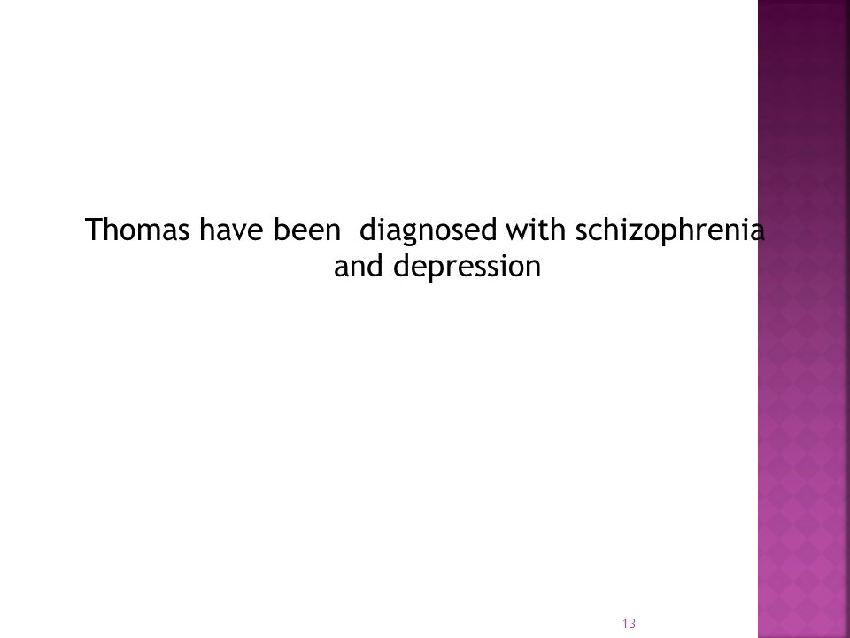 Thomas have been diagnosed with schizophrenia and depression 13