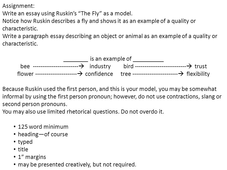 Assignment: Write an essay using Ruskin's The Fly as a model.