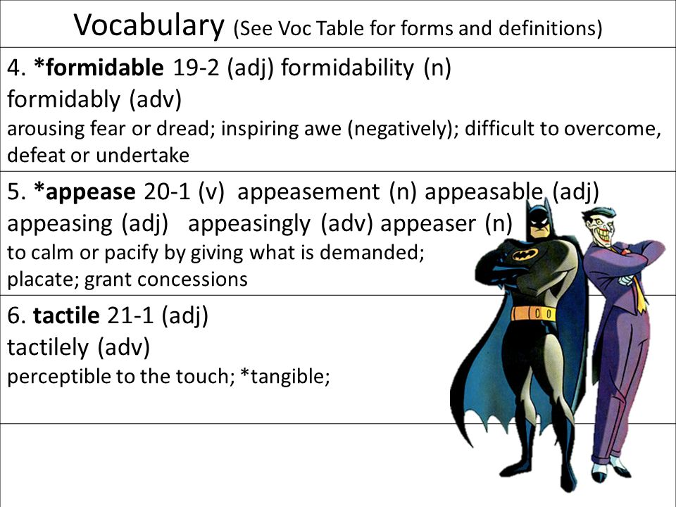 Vocabulary (See Voc Table for forms and definitions) 7.