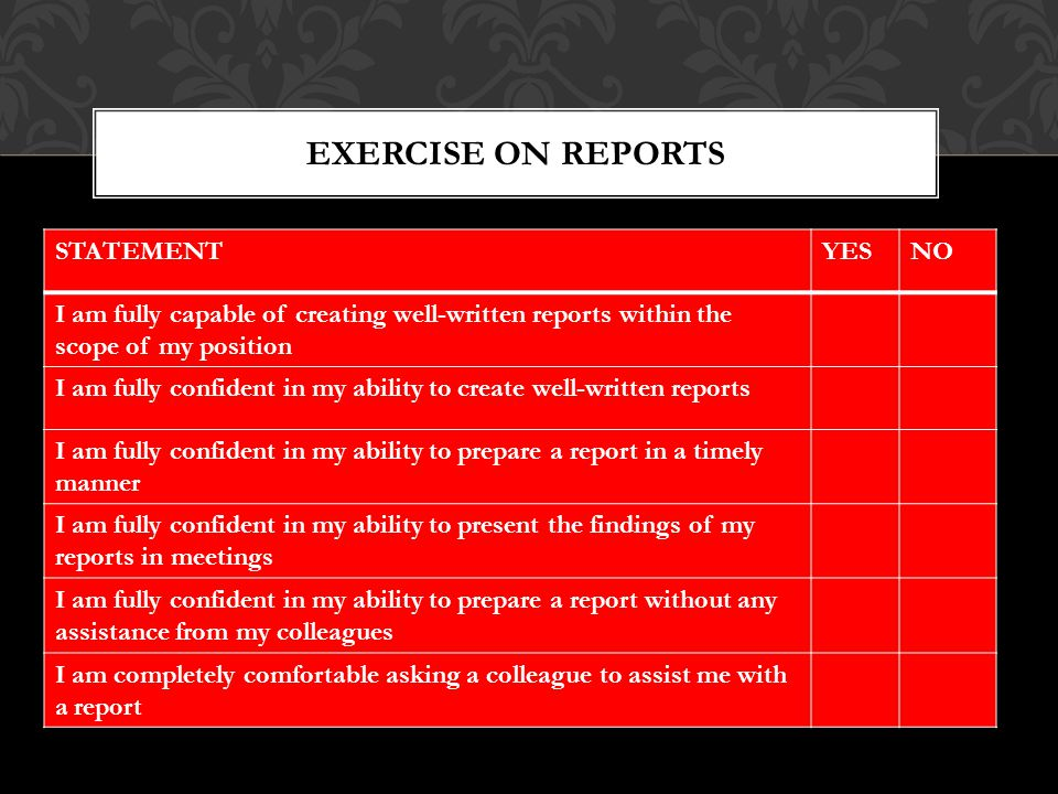 STATEMENTYESNO I am fully capable of creating well-written reports within the scope of my position I am fully confident in my ability to create well-written reports I am fully confident in my ability to prepare a report in a timely manner I am fully confident in my ability to present the findings of my reports in meetings I am fully confident in my ability to prepare a report without any assistance from my colleagues I am completely comfortable asking a colleague to assist me with a report EXERCISE ON REPORTS
