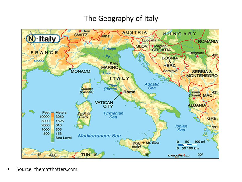 The Geography of Italy Source: thematthatters.com
