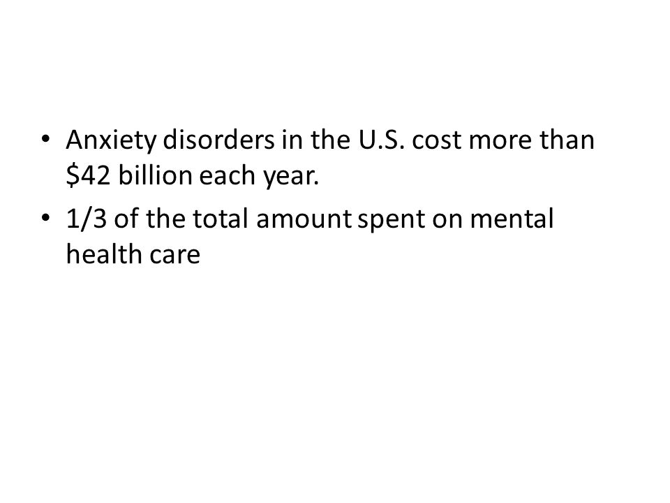 Anxiety disorders in the U.S. cost more than $42 billion each year. 1/3 of the total amount spent on mental health care