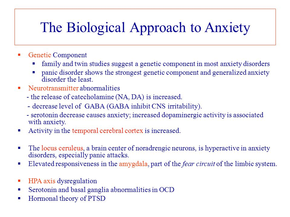 The Biological Approach to Anxiety  Genetic Component  family and twin studies suggest a genetic component in most anxiety disorders  panic disorde