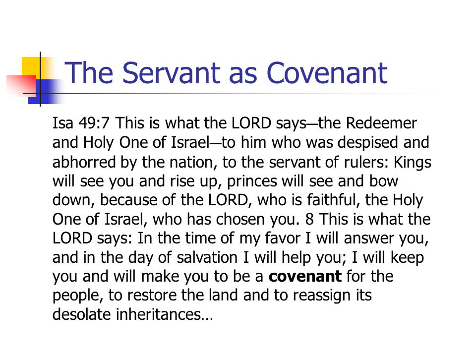 The Servant as Covenant Isa 49:7 This is what the LORD says C the Redeemer and Holy One of Israel C to him who was despised and abhorred by the nation