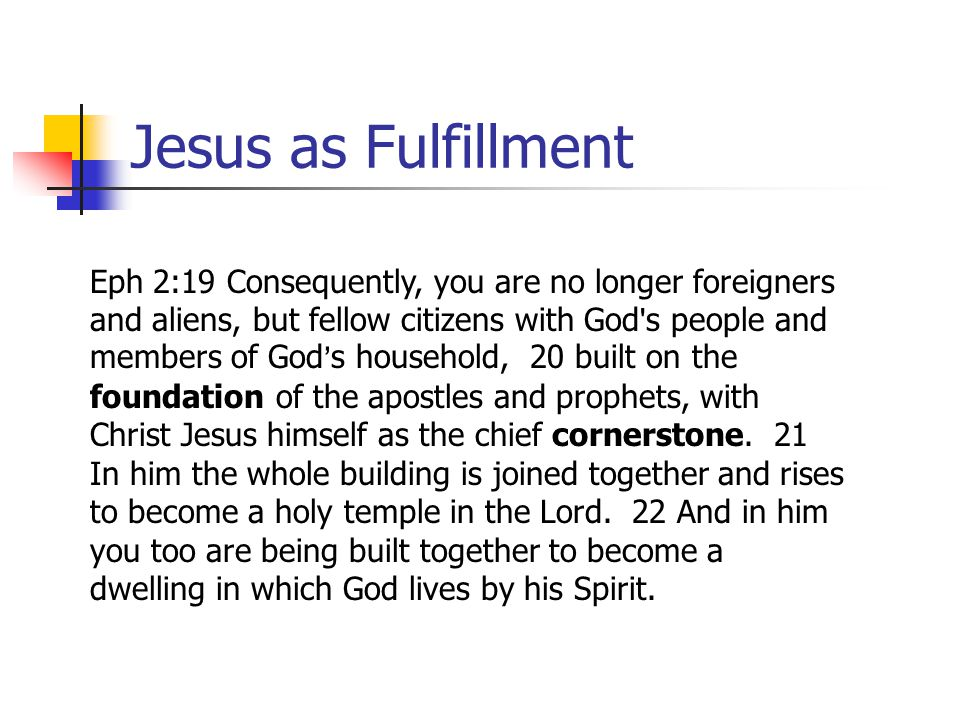 Jesus as Fulfillment Eph 2:19 Consequently, you are no longer foreigners and aliens, but fellow citizens with God ' s people and members of God = s ho