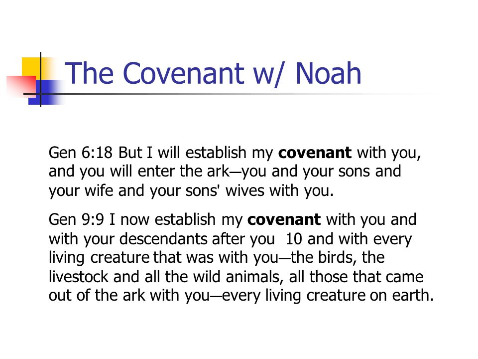 The Covenant w/ Noah Gen 6:18 But I will establish my covenant with you, and you will enter the ark C you and your sons and your wife and your sons '