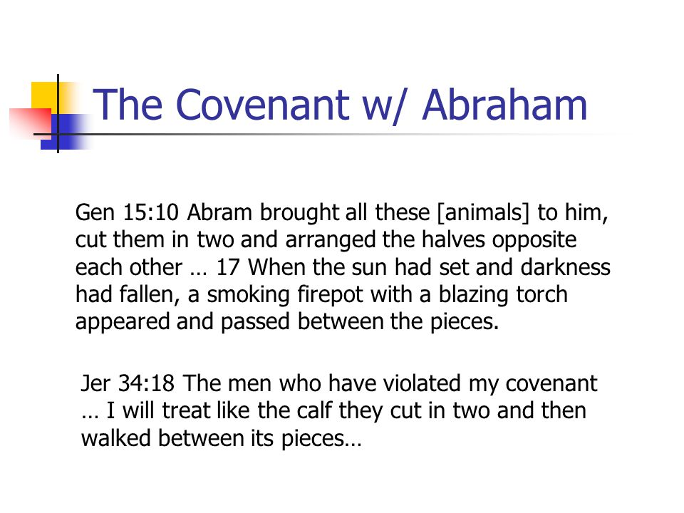 The Covenant w/ Abraham Gen 15:10 Abram brought all these [animals] to him, cut them in two and arranged the halves opposite each other … 17 When the