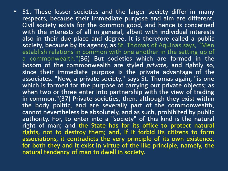 51. These lesser societies and the larger society differ in many respects, because their immediate purpose and aim are different. Civil society exists