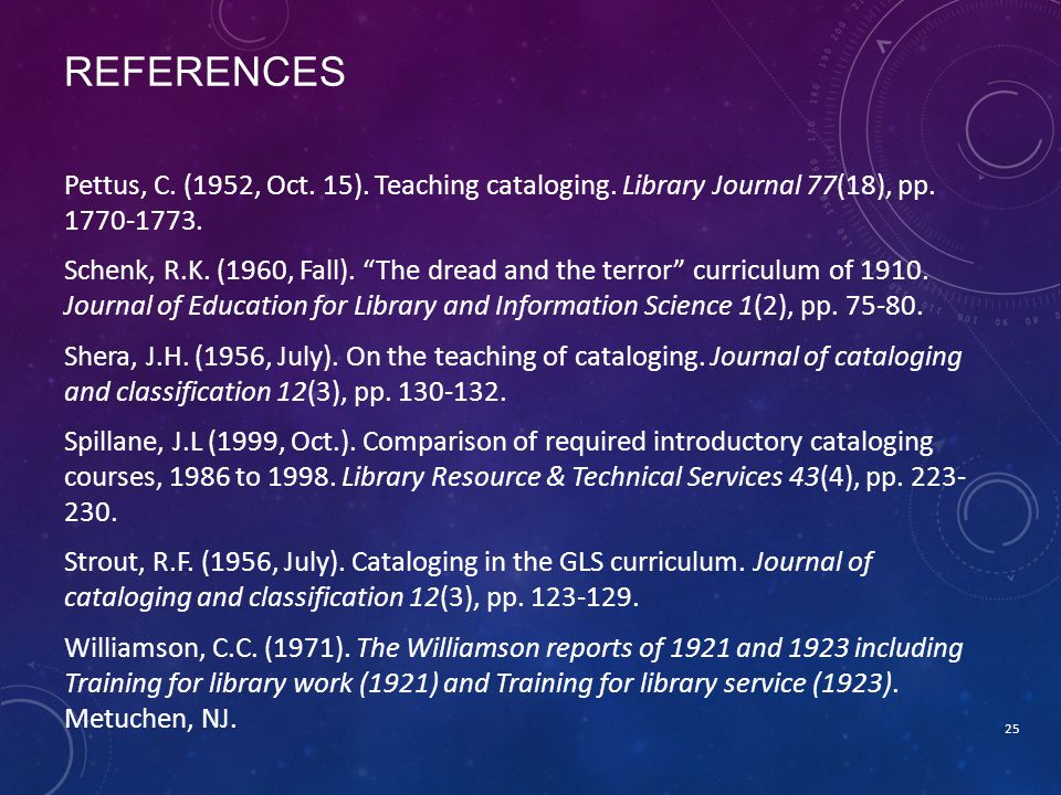 REFERENCES Pettus, C.(1952, Oct. 15). Teaching cataloging.