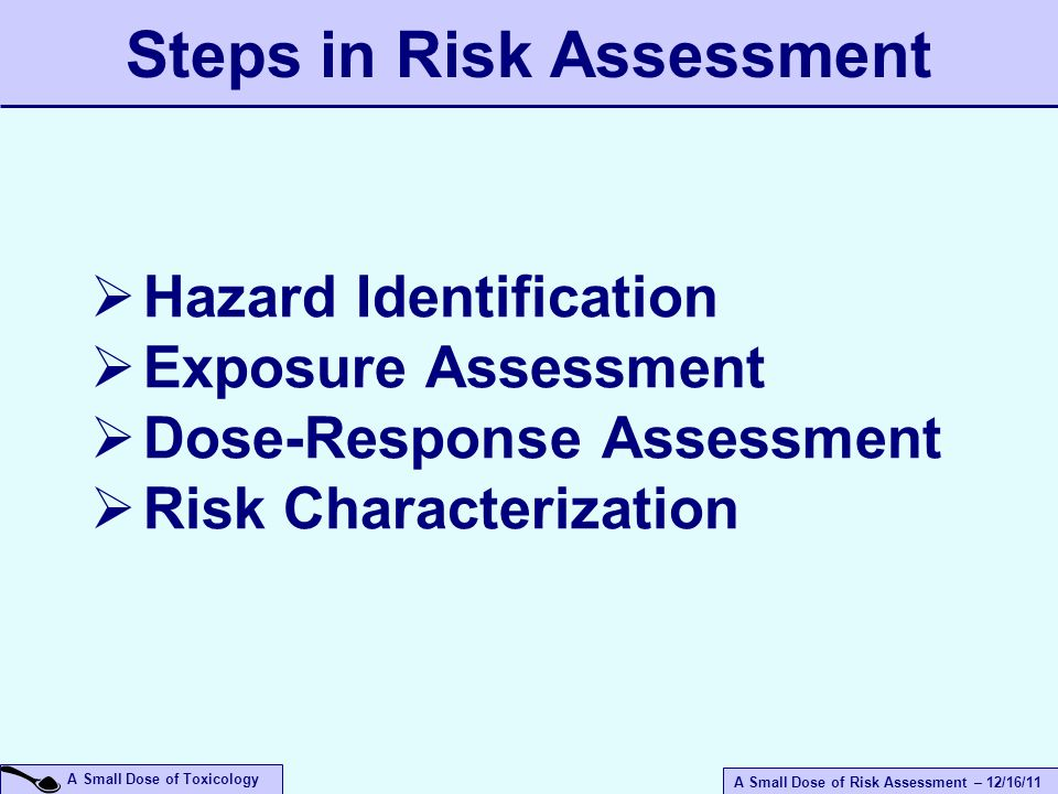 A Small Dose of Risk Assessment – 12/16/11 A Small Dose of Toxicology Steps in Risk Assessment  Hazard Identification  Exposure Assessment  Dose-Response Assessment  Risk Characterization