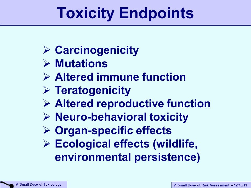 A Small Dose of Risk Assessment – 12/16/11 A Small Dose of Toxicology Toxicity Endpoints  Carcinogenicity  Mutations  Altered immune function  Teratogenicity  Altered reproductive function  Neuro-behavioral toxicity  Organ-specific effects  Ecological effects (wildlife, environmental persistence)