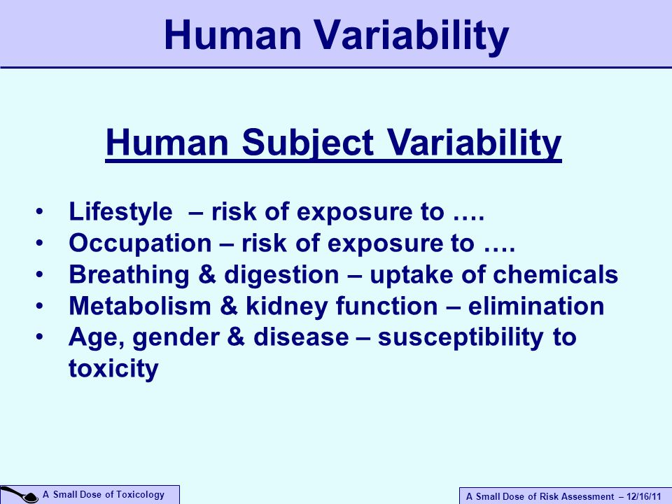 A Small Dose of Risk Assessment – 12/16/11 A Small Dose of Toxicology Human Variability Human Subject Variability Lifestyle – risk of exposure to ….