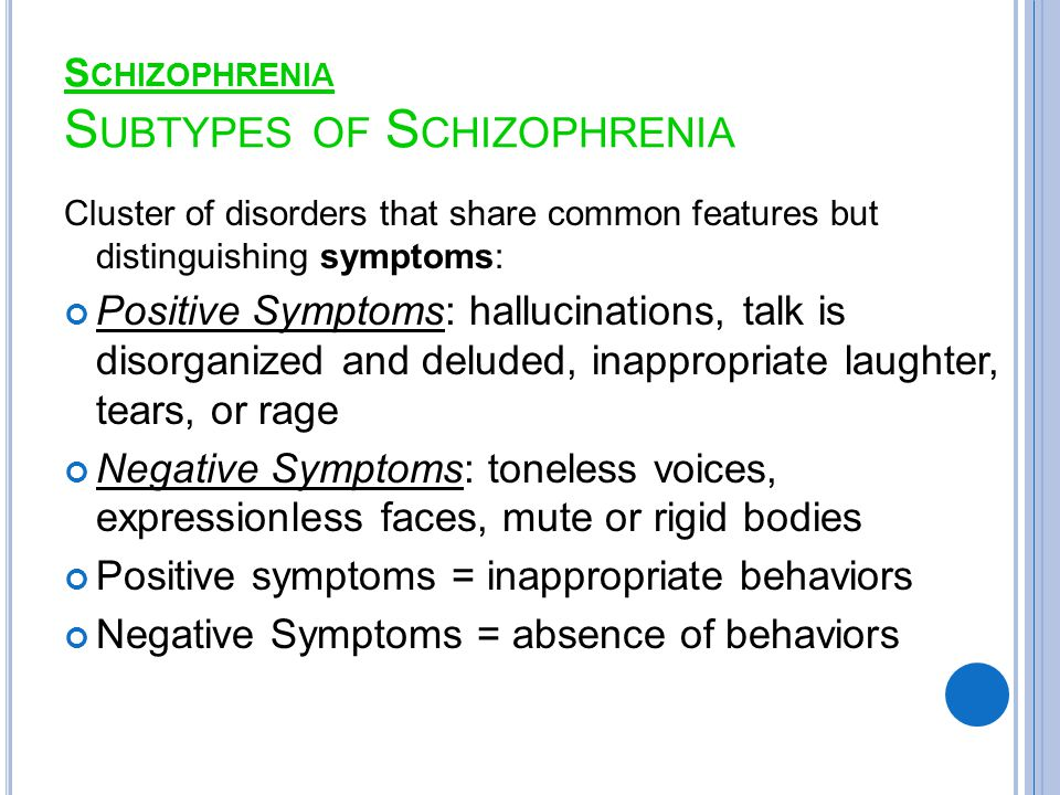 S CHIZOPHRENIA S UBTYPES OF S CHIZOPHRENIA Cluster of disorders that share common features but distinguishing symptoms: Positive Symptoms: hallucinations, talk is disorganized and deluded, inappropriate laughter, tears, or rage Negative Symptoms: toneless voices, expressionless faces, mute or rigid bodies Positive symptoms = inappropriate behaviors Negative Symptoms = absence of behaviors