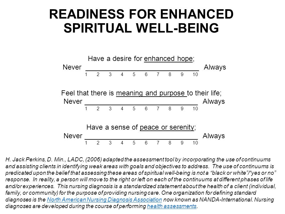 READINESS FOR ENHANCED SPIRITUAL WELL-BEING Have a desire for enhanced hope; Never _____________________________ Always 1 2 3 4 5 6 7 8 9 10 Feel that