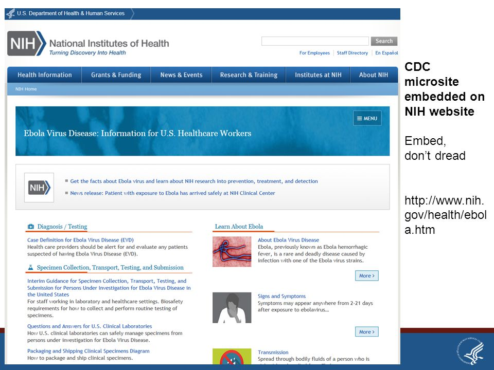 CDC microsite embedded on NIH website Embed, don't dread http://www.nih.