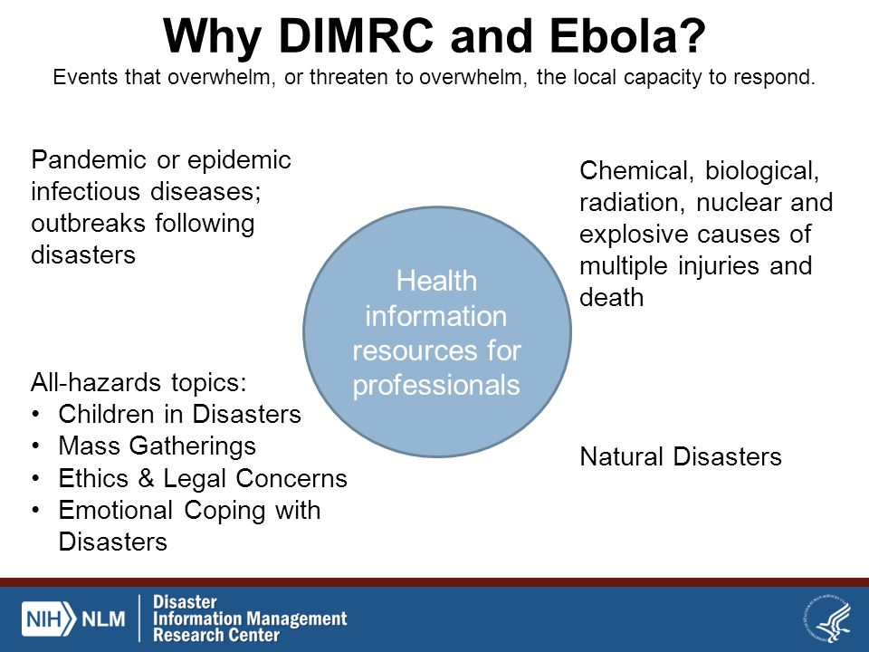 Why DIMRC and Ebola.