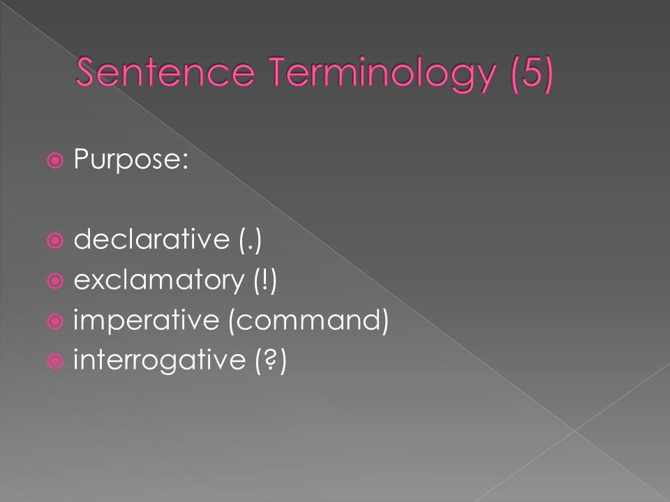  Purpose:  declarative (.)  exclamatory (!)  imperative (command)  interrogative (?)