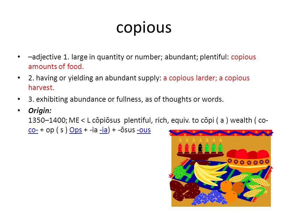 copious –adjective 1. large in quantity or number; abundant; plentiful: copious amounts of food.