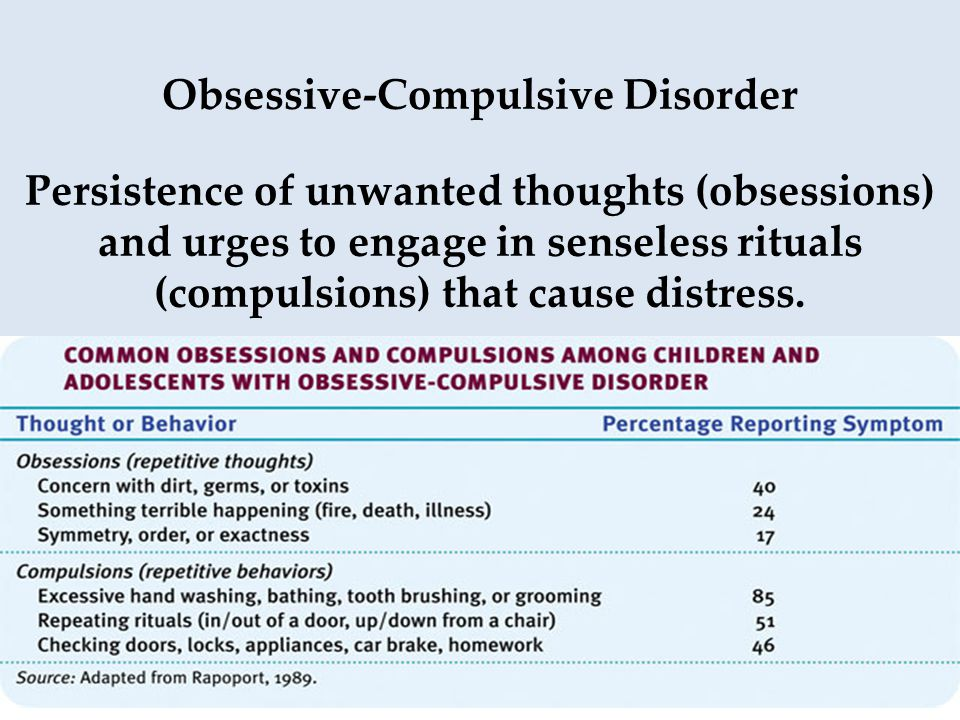 Obsessive-Compulsive Disorder Persistence of unwanted thoughts (obsessions) and urges to engage in senseless rituals (compulsions) that cause distress