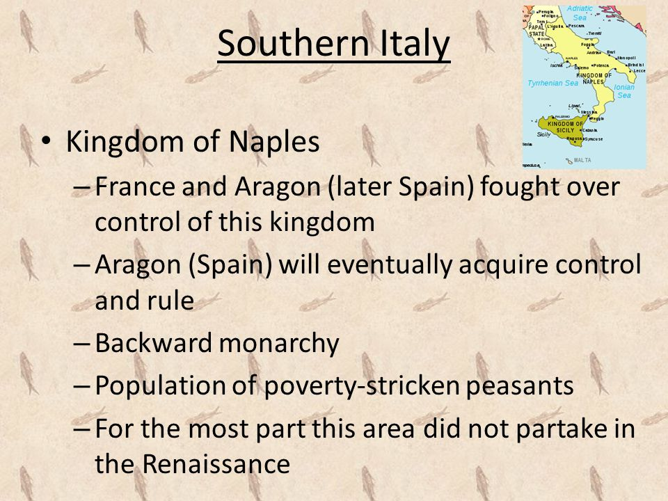 Papal States – Technically ruled by the Pope, however due to the Avignon Papacy, small areas such as Urbino, Bologna, and Ferrara essentially became independent territories – Renaissance Popes worked hard to reassert their control over these territories