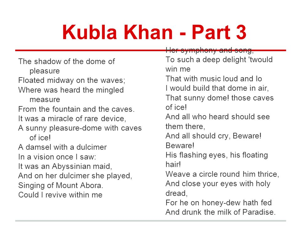 Kubla Khan - Part 3 The shadow of the dome of pleasure Floated midway on the waves; Where was heard the mingled measure From the fountain and the cave