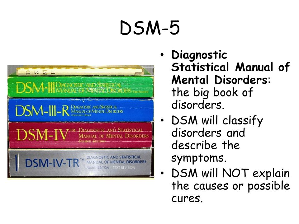 DSM-5 Diagnostic Statistical Manual of Mental Disorders: the big book of disorders.