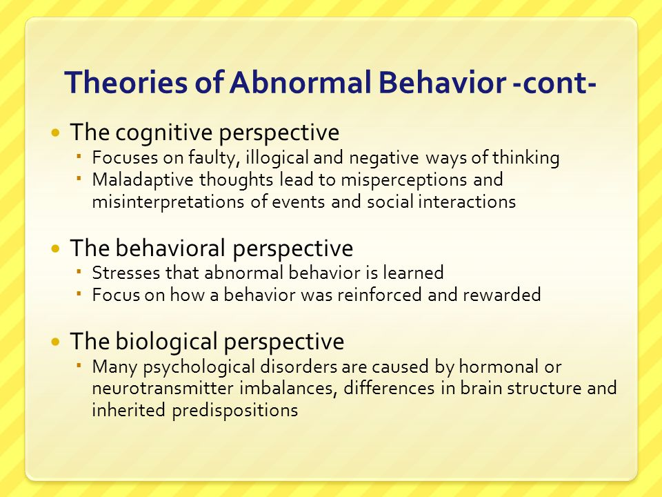 Somatoform Disorders Characterized by physical complaints or conditions which are caused by psychological factors Hypochondriasis - people interpret normal sensations (headache, stomach cramp) as symptoms of a dreaded disease Conversion disorder – marked by paralysis, blindness, deafness or other loss of sensation with no discernible physical cause
