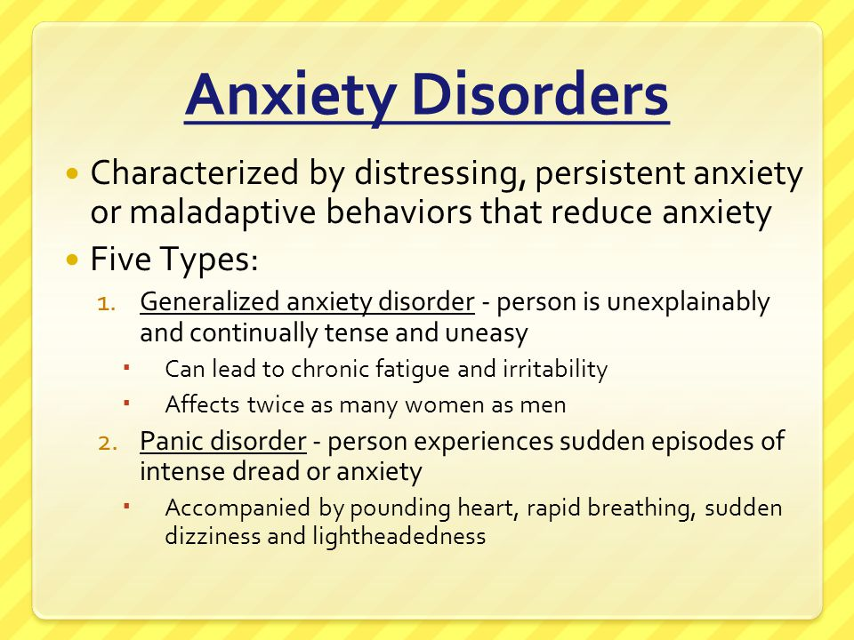 Anxiety Disorders -cont- Five Types -cont- 3.Phobias - an irrational fear causes a person to avoid some object, activity or situation
