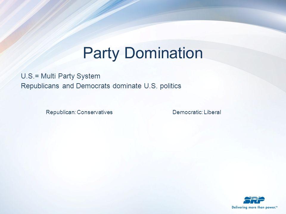 U.S.= Multi Party System Republicans and Democrats dominate U.S. politics Republican: Conservatives Democratic: Liberal Party Domination