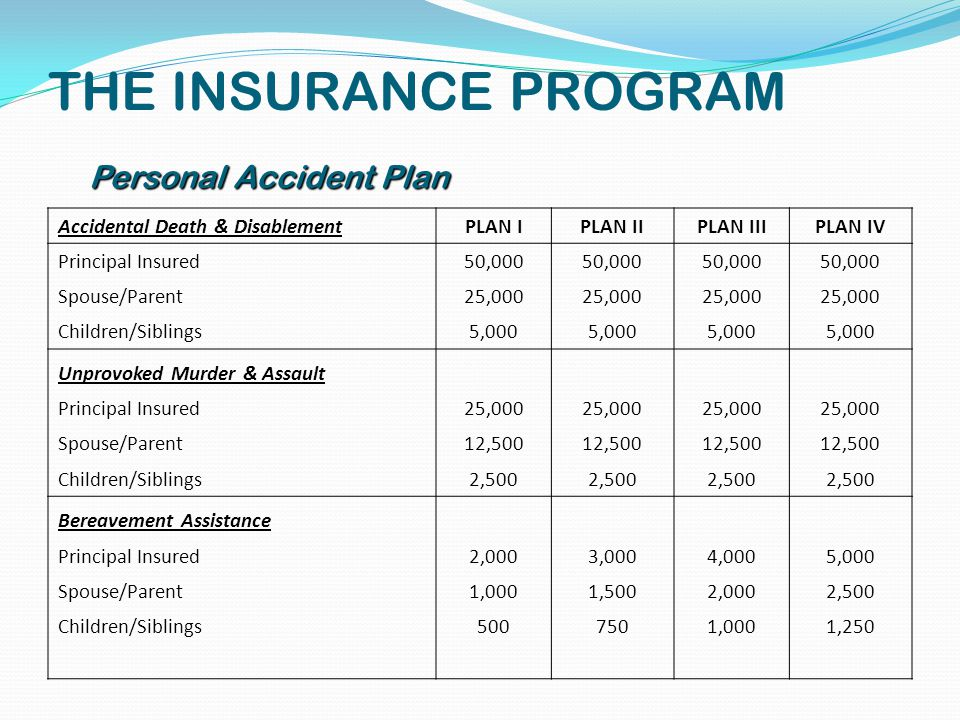 THE INSURANCE PROGRAM Accidental Death & DisablementPLAN IPLAN IIPLAN IIIPLAN IV Principal Insured50,000 Spouse/Parent25,000 Children/Siblings5,000 Unprovoked Murder & Assault Principal Insured25,000 Spouse/Parent12,500 Children/Siblings2,500 Bereavement Assistance Principal Insured2,0003,0004,0005,000 Spouse/Parent1,0001,5002,0002,500 Children/Siblings5007501,0001,250 Personal Accident Plan