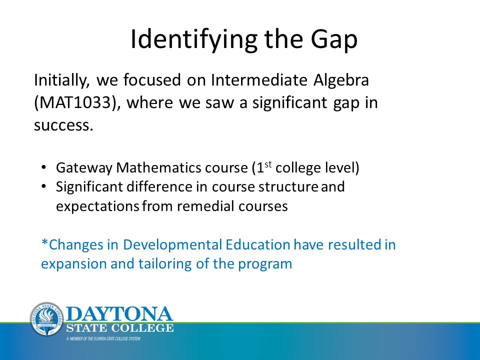 Identifying the Gap Initially, we focused on Intermediate Algebra (MAT1033), where we saw a significant gap in success.