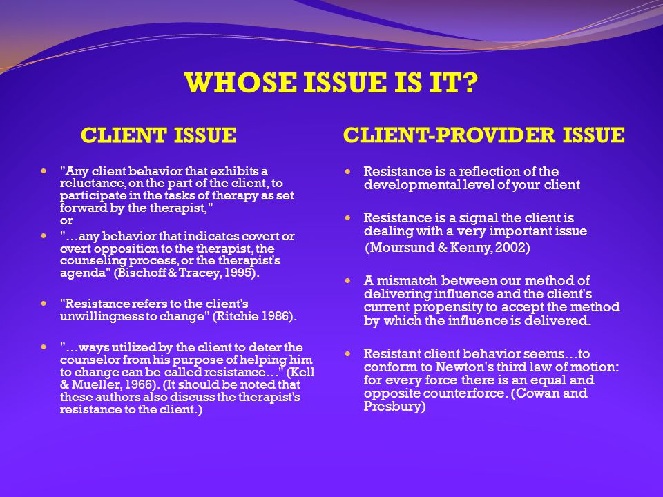 WHOSE ISSUE IS IT? CLIENT ISSUE CLIENT-PROVIDER ISSUE