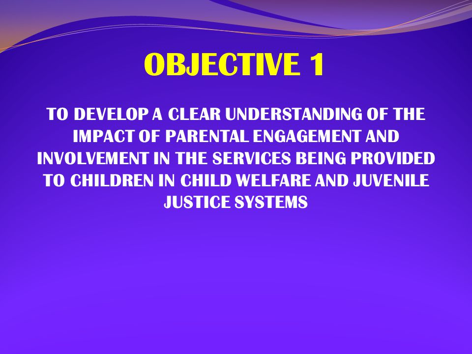 OBJECTIVE 2 TO ADDRESS THE BARRIERS AND STRUGGLES OF EFFECTIVELY ENGAGING PARENTS OF CHILDREN INVOLVED WITH THE CHILD WELFARE AND JUVENILE JUSTICE SYSTEMS
