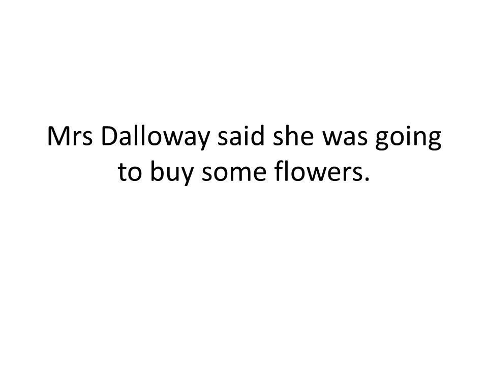 Mrs Dalloway said she was going to buy some flowers.
