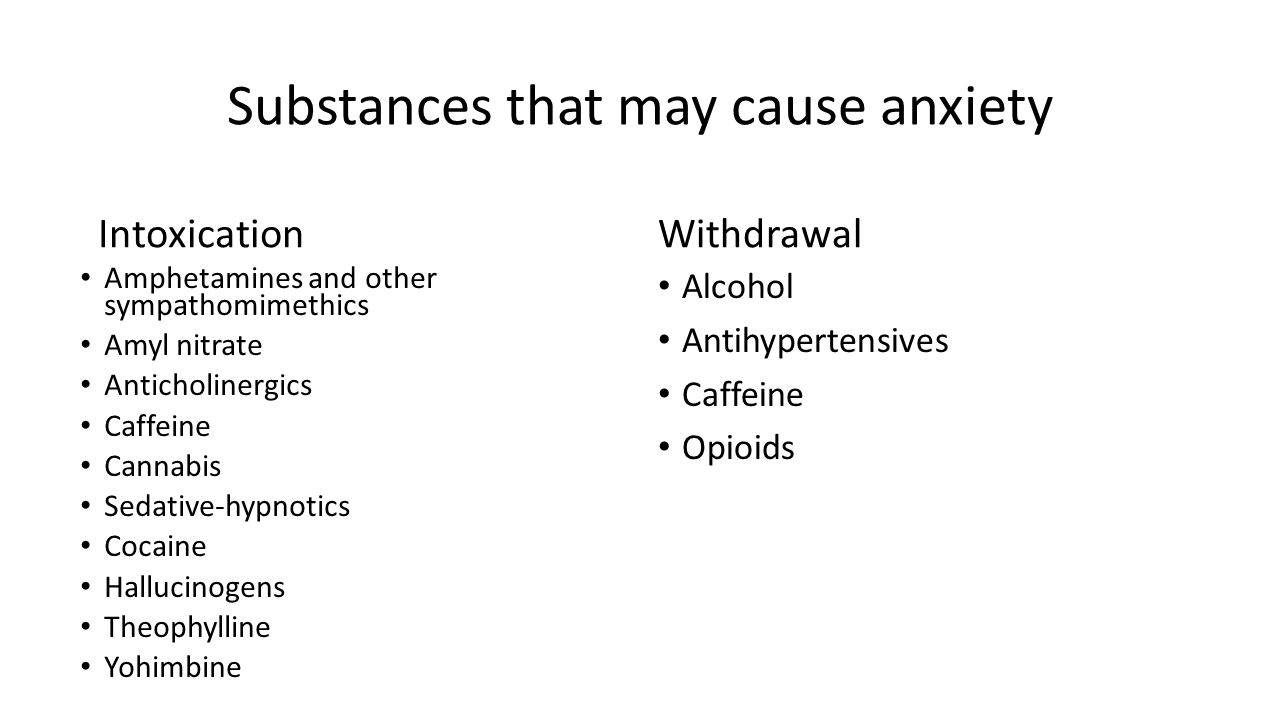 Substances that may cause anxiety Intoxication Amphetamines and other sympathomimethics Amyl nitrate Anticholinergics Caffeine Cannabis Sedative-hypnotics Cocaine Hallucinogens Theophylline Yohimbine Withdrawal Alcohol Antihypertensives Caffeine Opioids