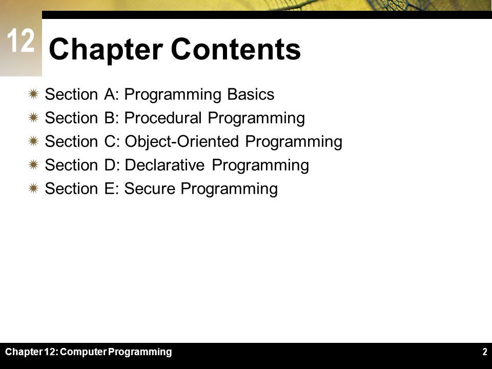 12 Chapter 12: Computer Programming2 Chapter Contents  Section A: Programming Basics  Section B: Procedural Programming  Section C: Object-Oriented Programming  Section D: Declarative Programming  Section E: Secure Programming