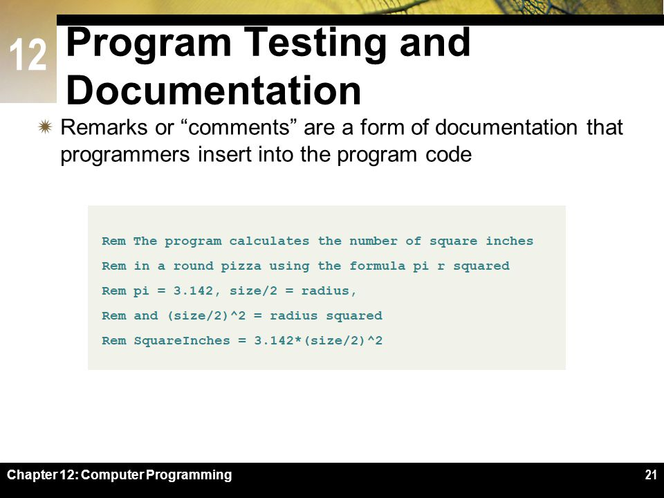 12 Chapter 12: Computer Programming21 Program Testing and Documentation  Remarks or comments are a form of documentation that programmers insert into the program code