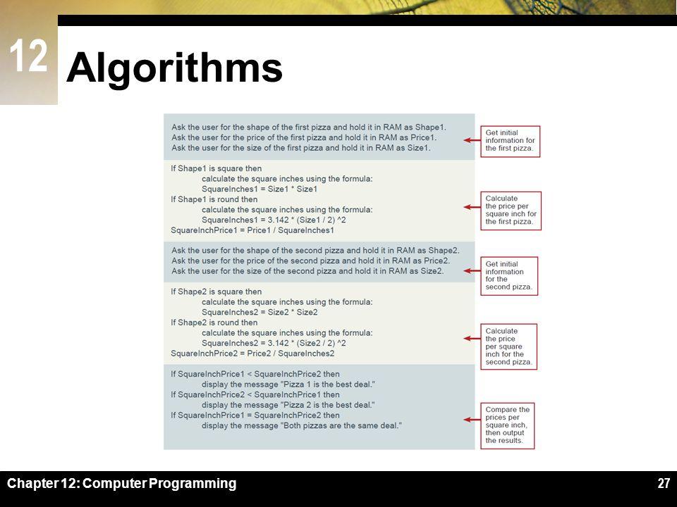 12 Algorithms Chapter 12: Computer Programming27