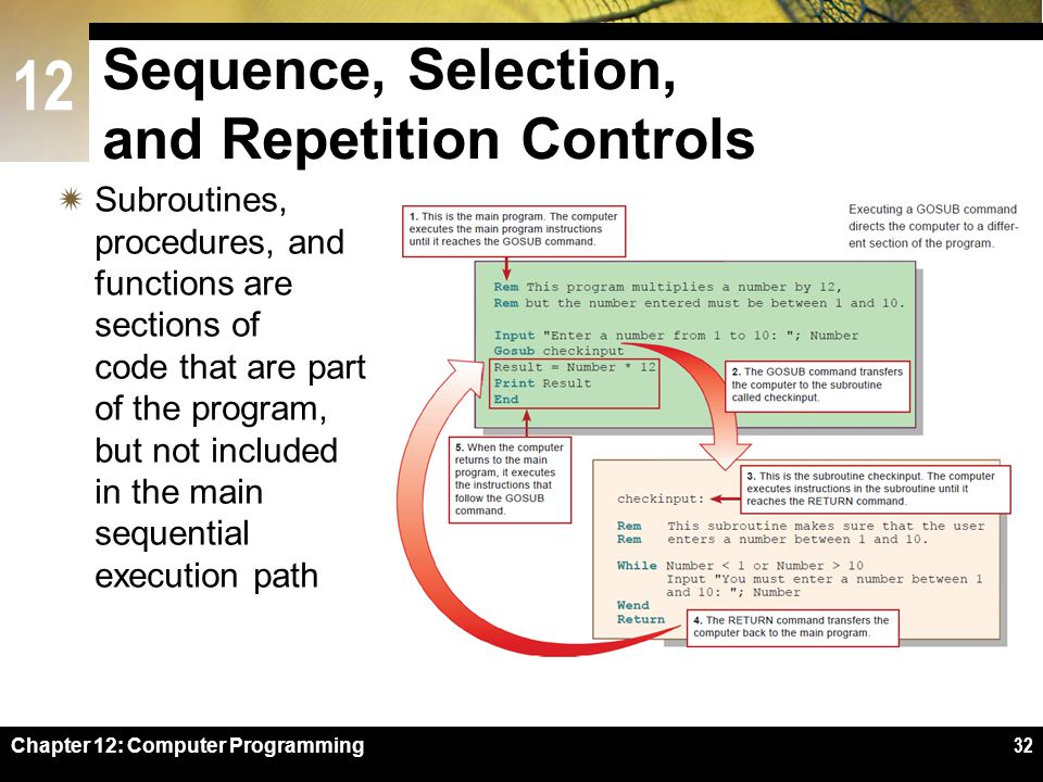 12 Chapter 12: Computer Programming32 Sequence, Selection, and Repetition Controls  Subroutines, procedures, and functions are sections of code that are part of the program, but not included in the main sequential execution path
