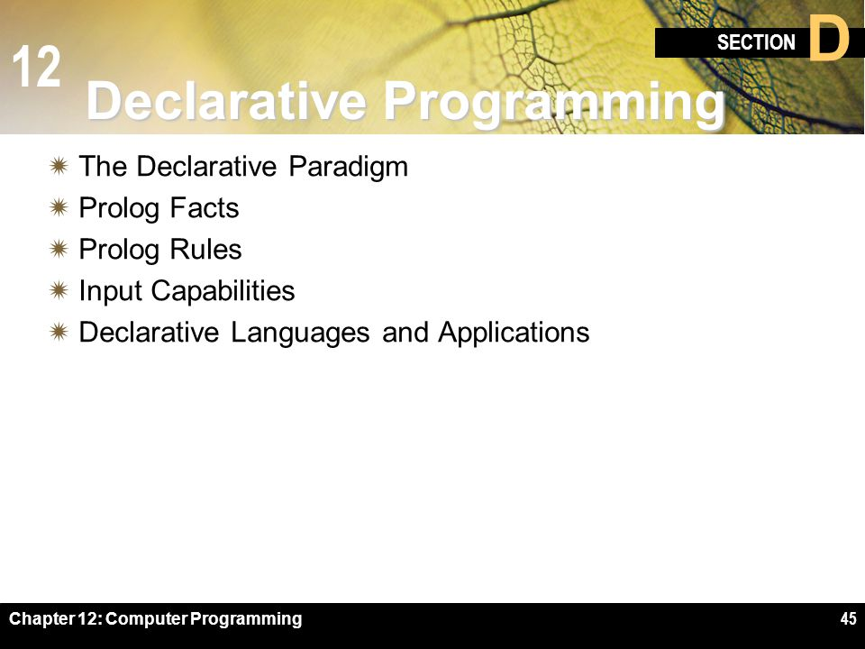 12 SECTION D Chapter 12: Computer Programming45 Declarative Programming  The Declarative Paradigm  Prolog Facts  Prolog Rules  Input Capabilities  Declarative Languages and Applications