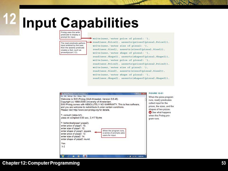 12 Input Capabilities Chapter 12: Computer Programming53