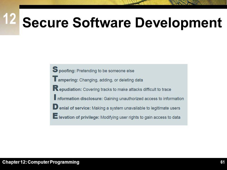 12 Secure Software Development Chapter 12: Computer Programming61
