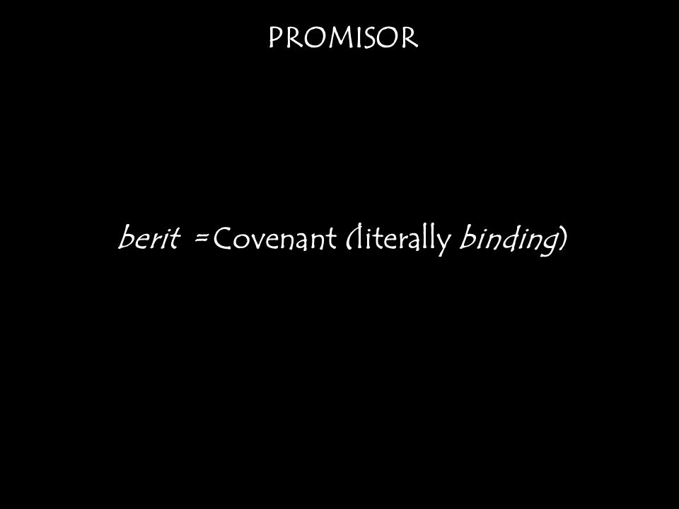 PROMISOR berit = Covenant (literally binding)